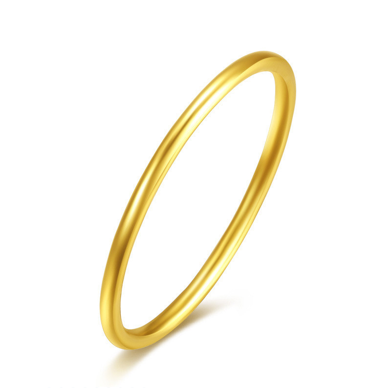 New Arrival Solid 24K Yellow Gold Ring Women 999 Gold Smooth Ring 999 solid 24k yellow gold ring bless men