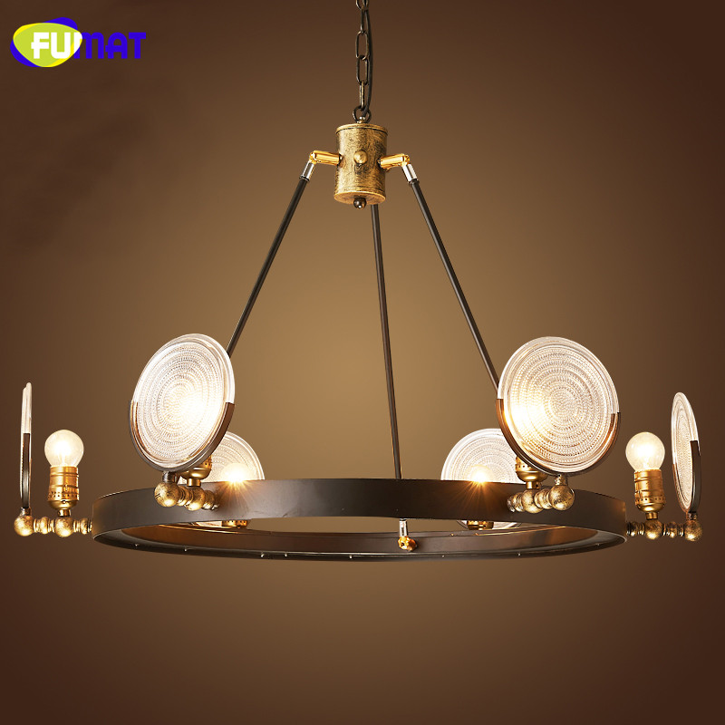 FUMAT Amreican Vintage Loft Chandelier Bar Restaurant Living Room Hanging Lamps Bar Retro Iron Glass Chandelier Light Fitting