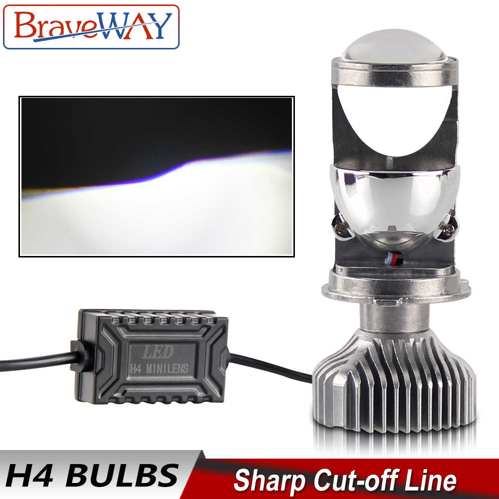 BraveWay H4 LED Hi-lo Beam Mini Projector Lens Headlight for Car Motorcycle H4 LED Bulb Clear Beam Pattern 12V 80W 5500K 12000LM
