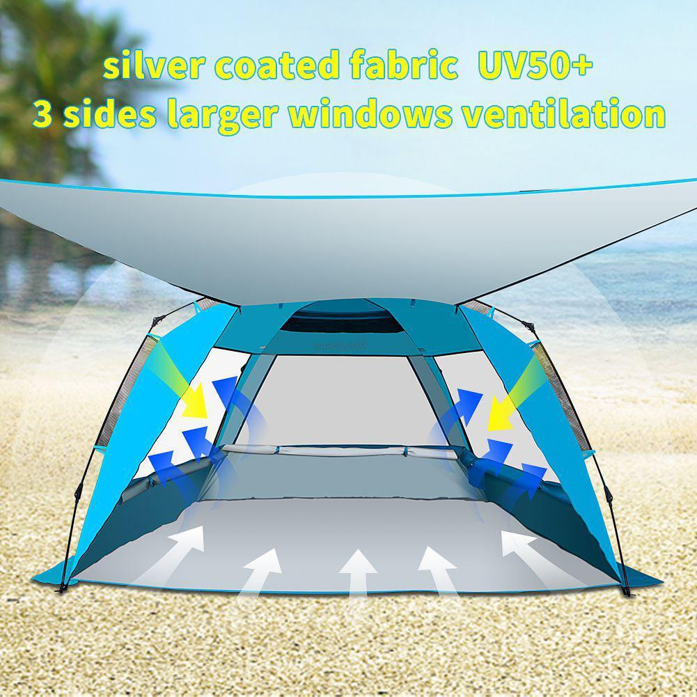 Tente extérieure légère de plage de Cabana avec 2 poteaux de soutien tente imperméable élégante de Camping de soleil-blocage pour le voyage de plage de randonnée