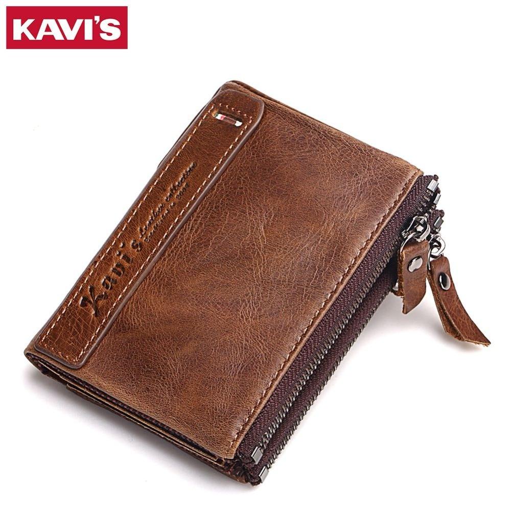 KAVIS 100 Genuine Leather Men Wallet Small Zipper Men Walet Portomonee Male Short Coin Purse Brand
