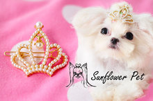 2015 New Pets noble pearl crown head flower / hairpin Pet accessories 30pcs