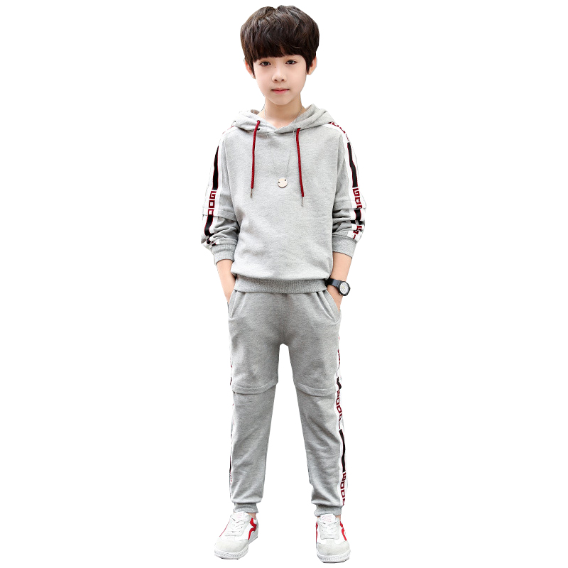 Boys set long sleeved spring autumn models 2019 new COTTON sports hooded sweater pants 4 16 baby boy clothes in Clothing Sets from Mother Kids