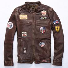 2015 top sale tranned sheepskin flight jacket multi badge slim fit pilot jacket brown real leather