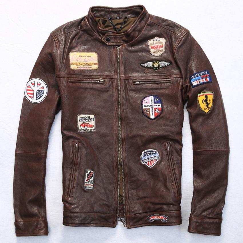 2015 Top Verkauf Tranned Schaffell Fliegerjacke Multi Badge Dünne Fit Pilot Jacke Brown Echtes Leder Jacke Männer Schwarz Leder Mantel