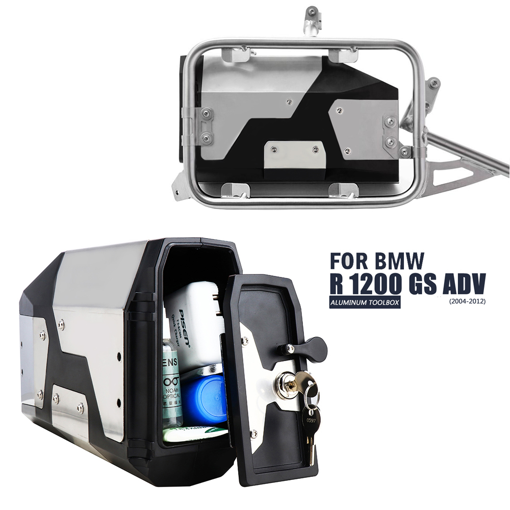 New Arrival! Tool Box For BMW R1250gs R1200gs Lc & Adv Adventure 2002 2008 2018 For BMW R 1200 Gs Left Side Bracket Aluminum Box(China)