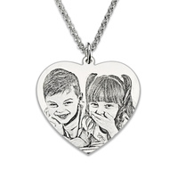 Wholesale Photo Engraved Heart Necklace Sterling Silver Personalized Portrait Picture Heart Photo Charm Gift For Her