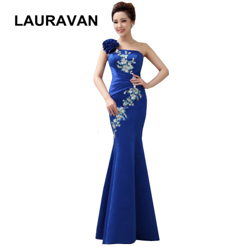 2019 elegant woman long royal blue one shoulder satin mermaid dinner   dresses   ladies for occasion   bridesmaid     dress   formal gowns