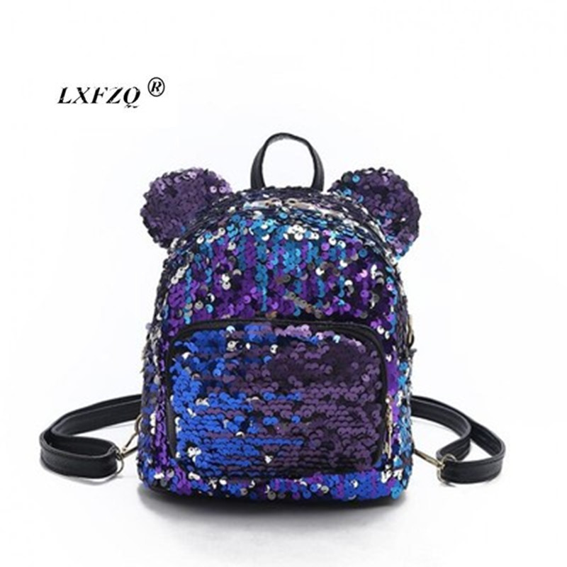 NEW Sequins Backpacks Teenager School Bags For Girls PU Mochila Backpack Drawstring Kids Bag Glitter Girls Travel Shoulder Bags