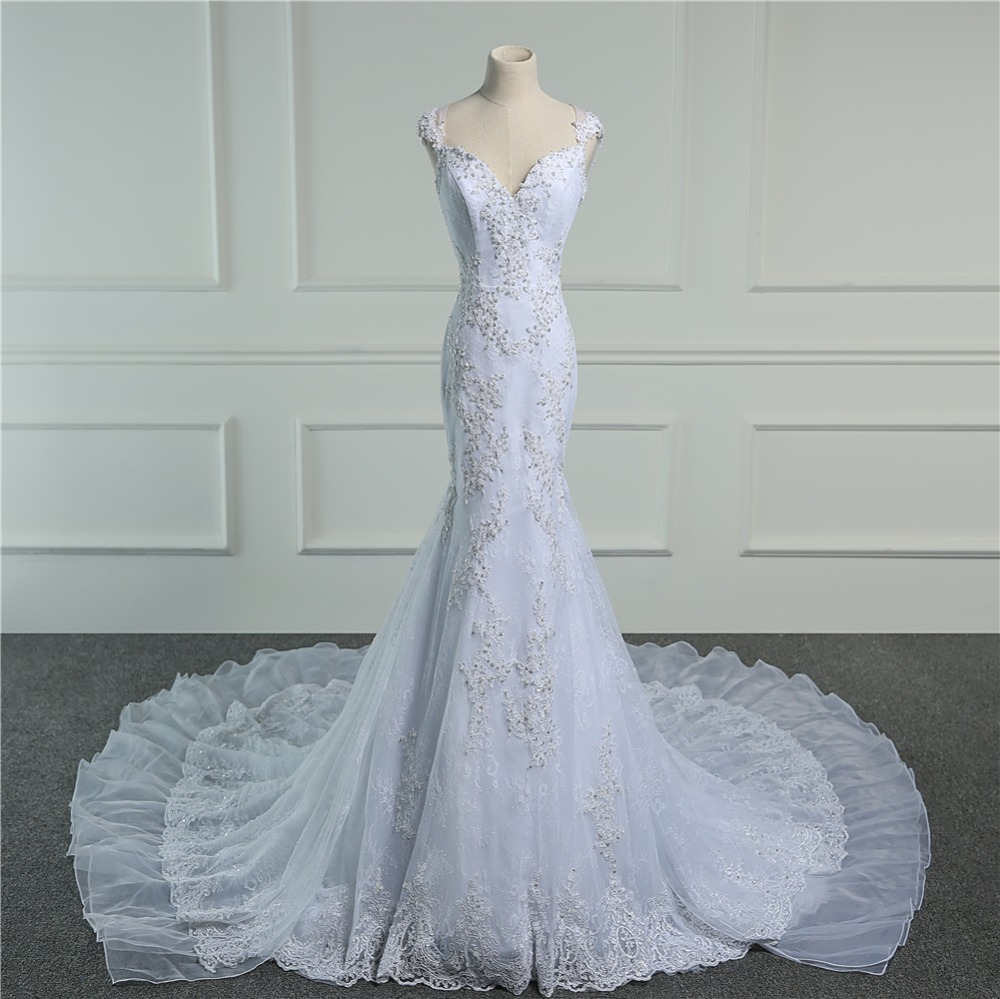 Beaded Appliques Backless Lace Mermaid Wedding Dress