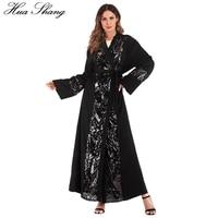 Muslim Dress Party Sequined Decoration Open Abaya In Dubai Black Kimono Arabic Turkey Moroccan Luxury Long Islamic Dresses