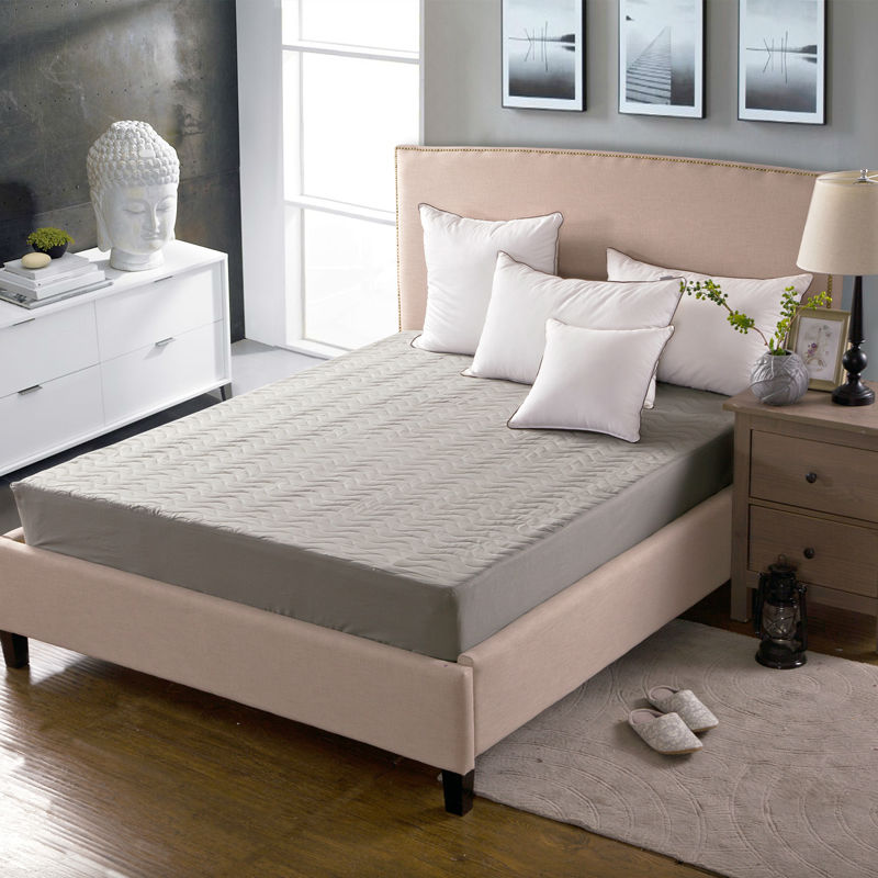 Brief style gray solid high end cotton mattress protection for High end king size bed