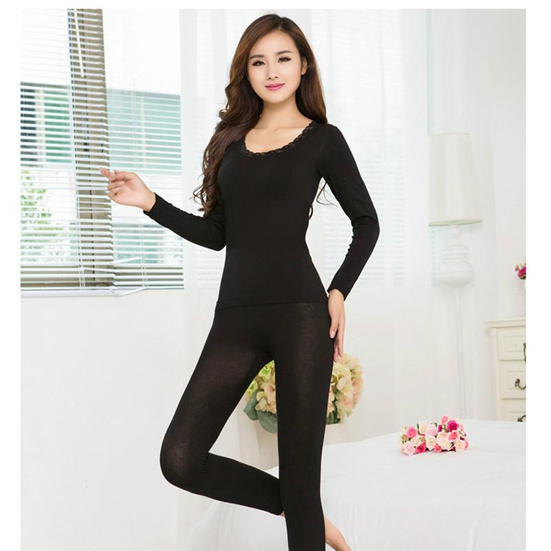 2017 New Fashion Seamless Breathable Warm Long Johns Ladies Slim Underwears Sets bottoming Women tunic Winter Thermal Underwears