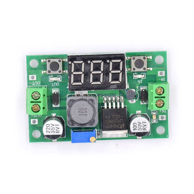 5pcs/lot LM2596 DC 4.0~40 To 1.3-37V Adjustable Step-Down Power Module + LED Voltmeter DC/DC