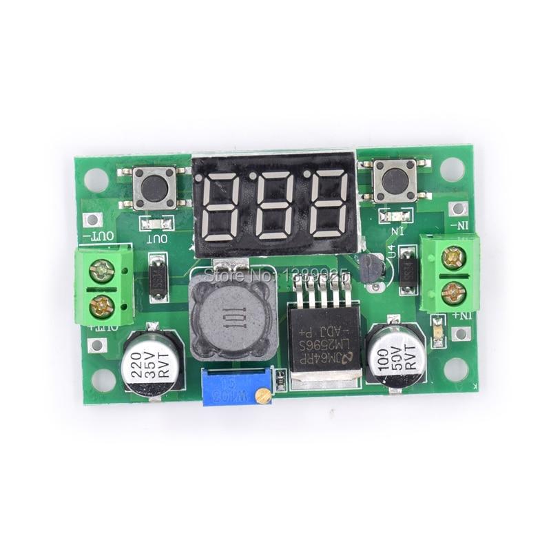 5pcs/lot LM2596 DC 4.0~40 to 1.3-37V Adjustable Step-Down Power Module + LED Voltmeter DC/DC