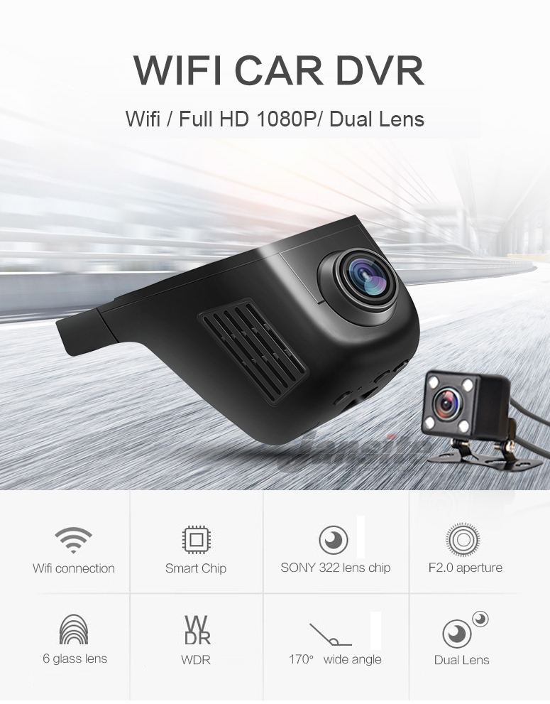 Jansite Car Dvr Wifi Car Camera Registrator Digital Video Mini Dash Cam Video Recorder Camcorder Full HD 1080P Dual Lens Dvr 2
