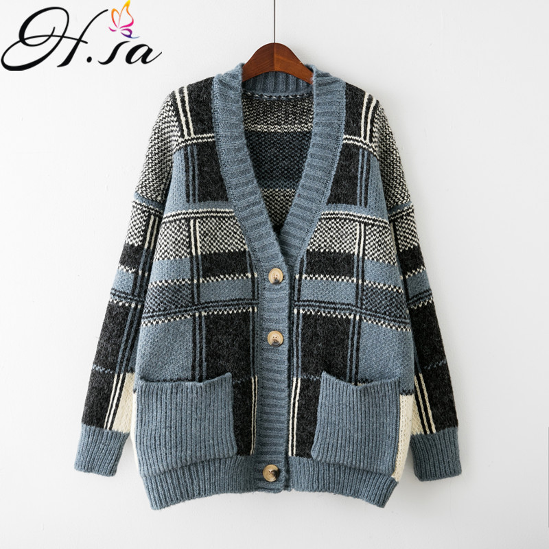 HSA 2018 Spring Women Cardigans Fashion Autumn Winter Long Sleeve Loose Thick Knitted Long Cardigan Women Sweaters Coat
