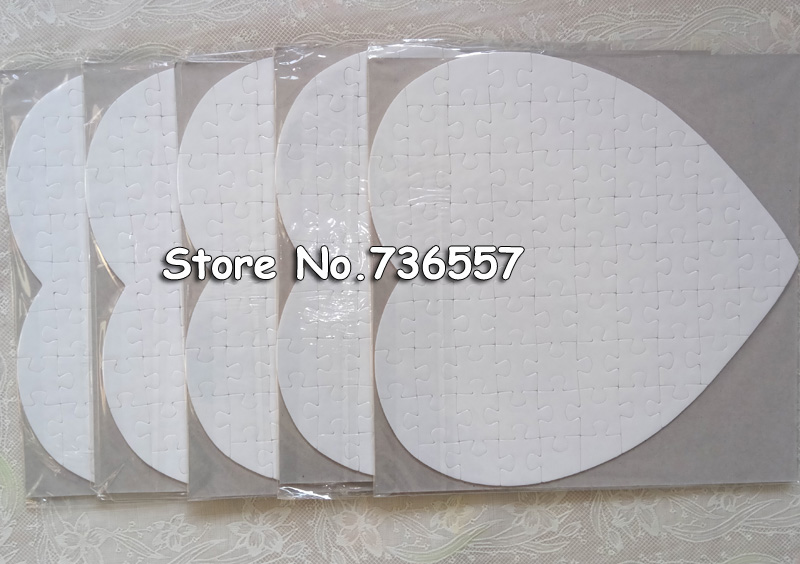Free Shipping 10 Sets Heart A5 Size Hardboard Sublimation Blank Jigsaw Puzzle Love Style