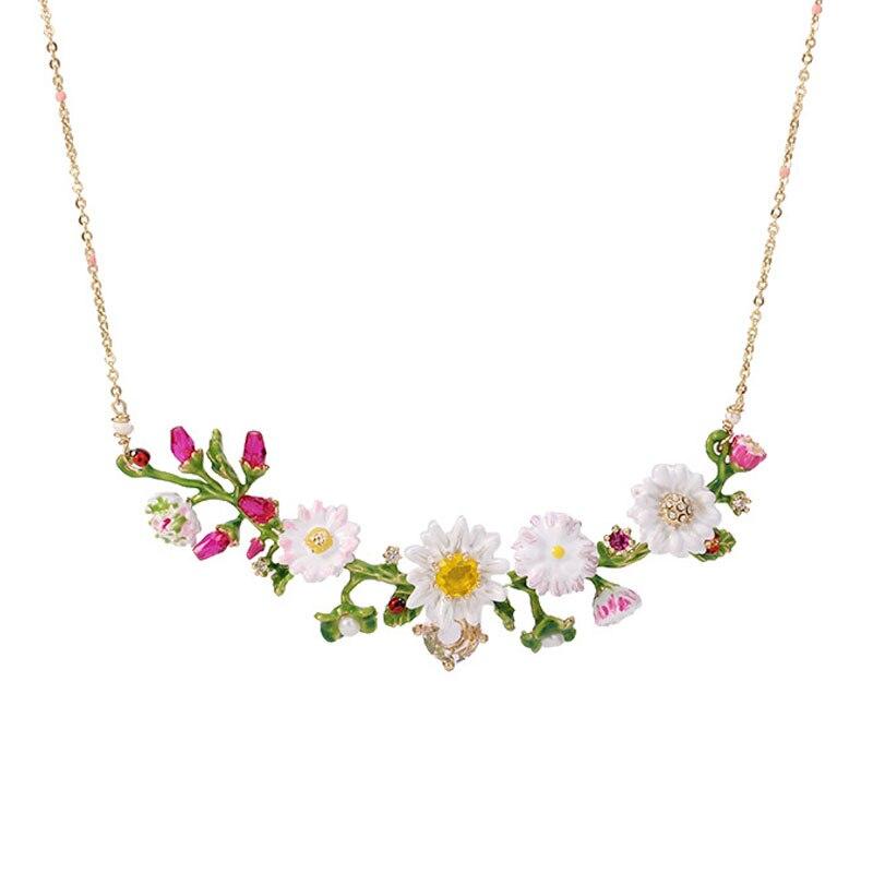 French Jewelry Paris Enamel Glaze Gardens Flowers Branch Gem Women Necklace 2018 New Arrive new arrive women