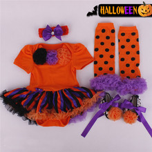Retail 2015 halloween costume baby girl dress 4pcs/set newborns kids clothes sets rompers dress +band+shoes+socks free shipping
