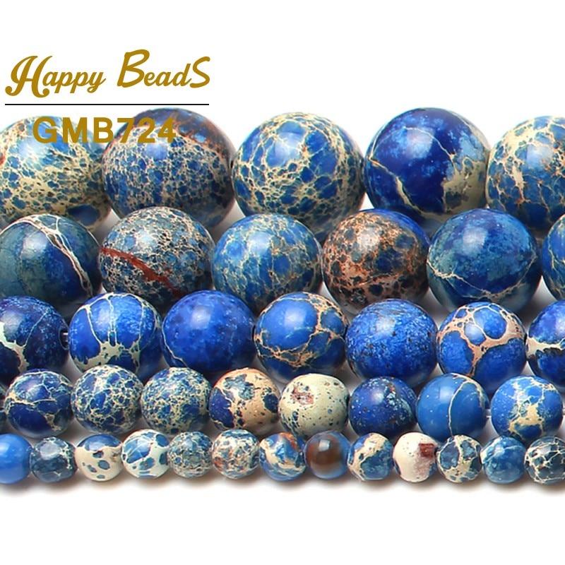 Piedra natural azul Sedimento marino Jaspe Cuentas espaciadoras - Bisutería - foto 3