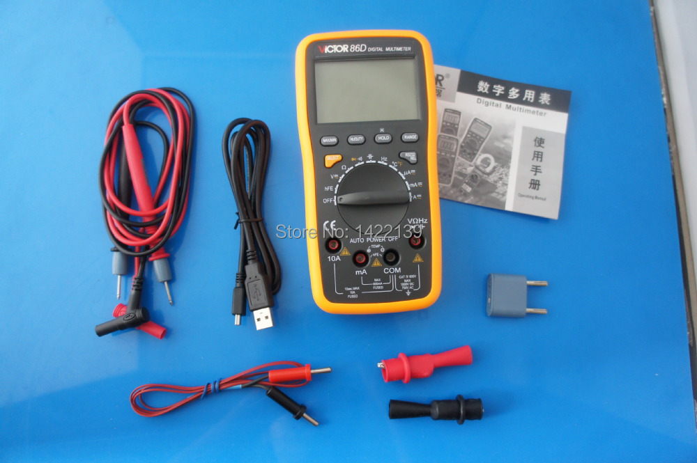 VICTOR 86D LCD Digital Multimeter Auto range Voltmeter Resistance Capacitance Tester Meter AC DC with USB interface aimo m320 pocket meter auto range handheld digital multimeter