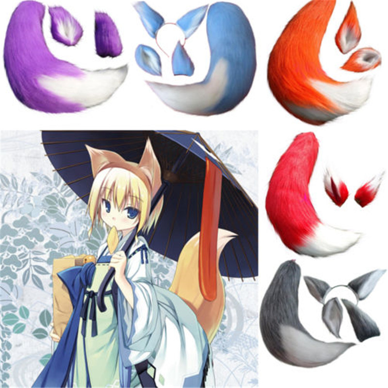Costume Props Fox Cat Dog Animal Plush Tail Clip Ears Halloween Cosplay Props Anime Spice And Wolf Kamisama Kiss Plushie Tails Soft Fuzzy Toy Costumes & Accessories