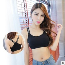 DTODAY New Fashion Women Comfortable Crop Top With Alphabet Straps Sexy Padded Bra Black And White Available