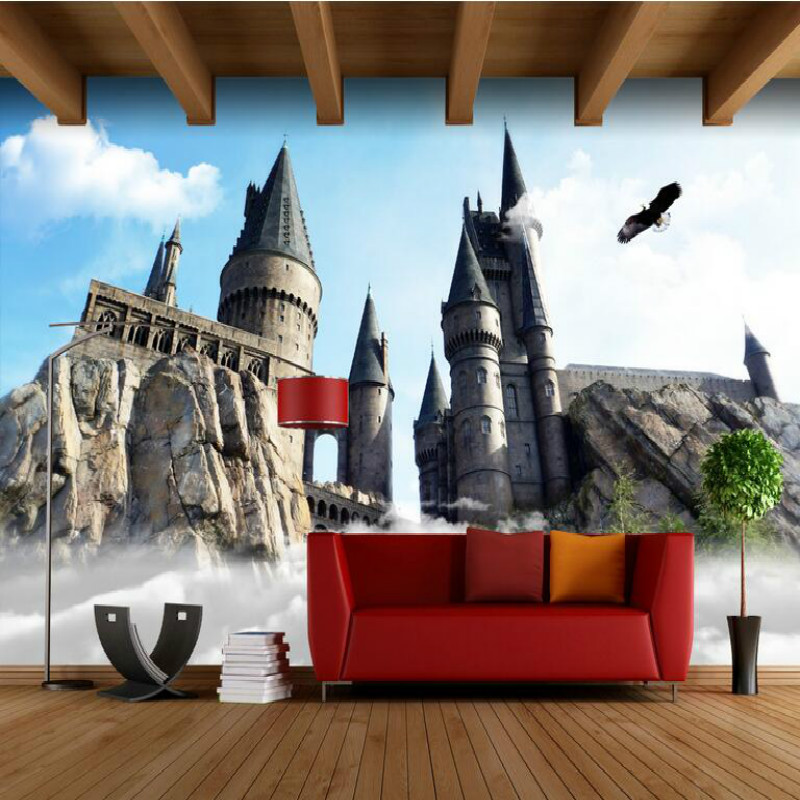 Retro nostalgia European American ancient castle large murals 3D wallpaper living room bedroom 3D wallpaper painting TV into the wild nostalgia retro classic movie kraft poster painting core 51x35 5cm