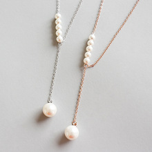 Trendy 100% 925 Sterling Silver Simulated Pearl Pendant Necklace For Women S925 Silver Lovers Jewelry Girl Gift tjp trendy box shaped silver anklets for women jewelry new fashion girl silver 925 bracelets jewelry lady lovers christmas gift