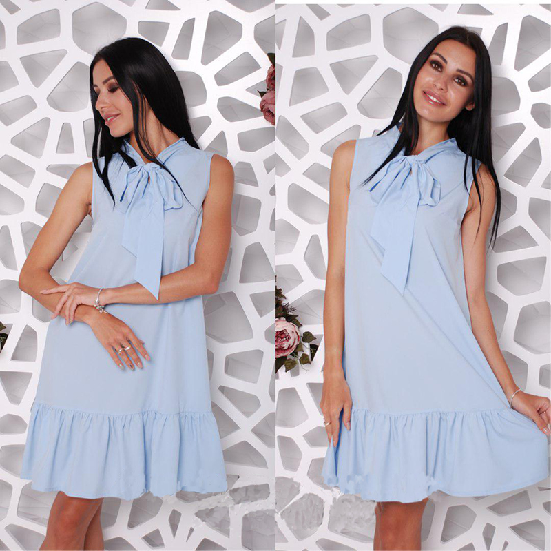 02f3f6f864 Elegant Bow Tie Sleeveless Ruffled Summer Dress Women's Fashion V ...