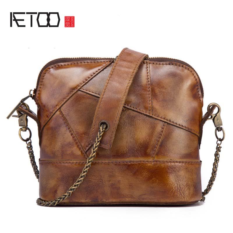 AETOO New leather vintage handbags women fashion flowers embossed rubbing shoulder bag ladies Messenger bag leather bag
