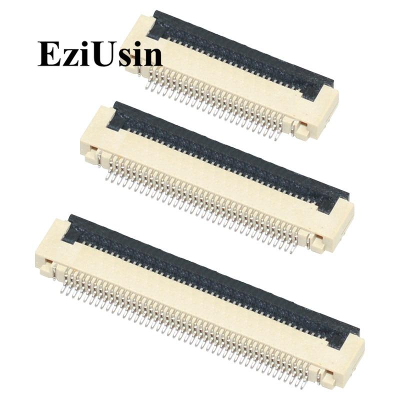 Женский плоский кабель 0,5 мм 1,0 мм, разъемы PCB SMT ZIF 4 5 6 7 8 10 12 16 18 20 26 28 30 32 36 40 50 54 60p