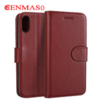 Genuine Leather Flip Wallet Cover For Iphone X Luxury Slim Case Thin Magnetic Phone Cover With
