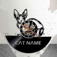 Kitten Cat Wall Clock Custom Cat Name Vinyl Record Wall Clock Personalised Cat Wall Art Name
