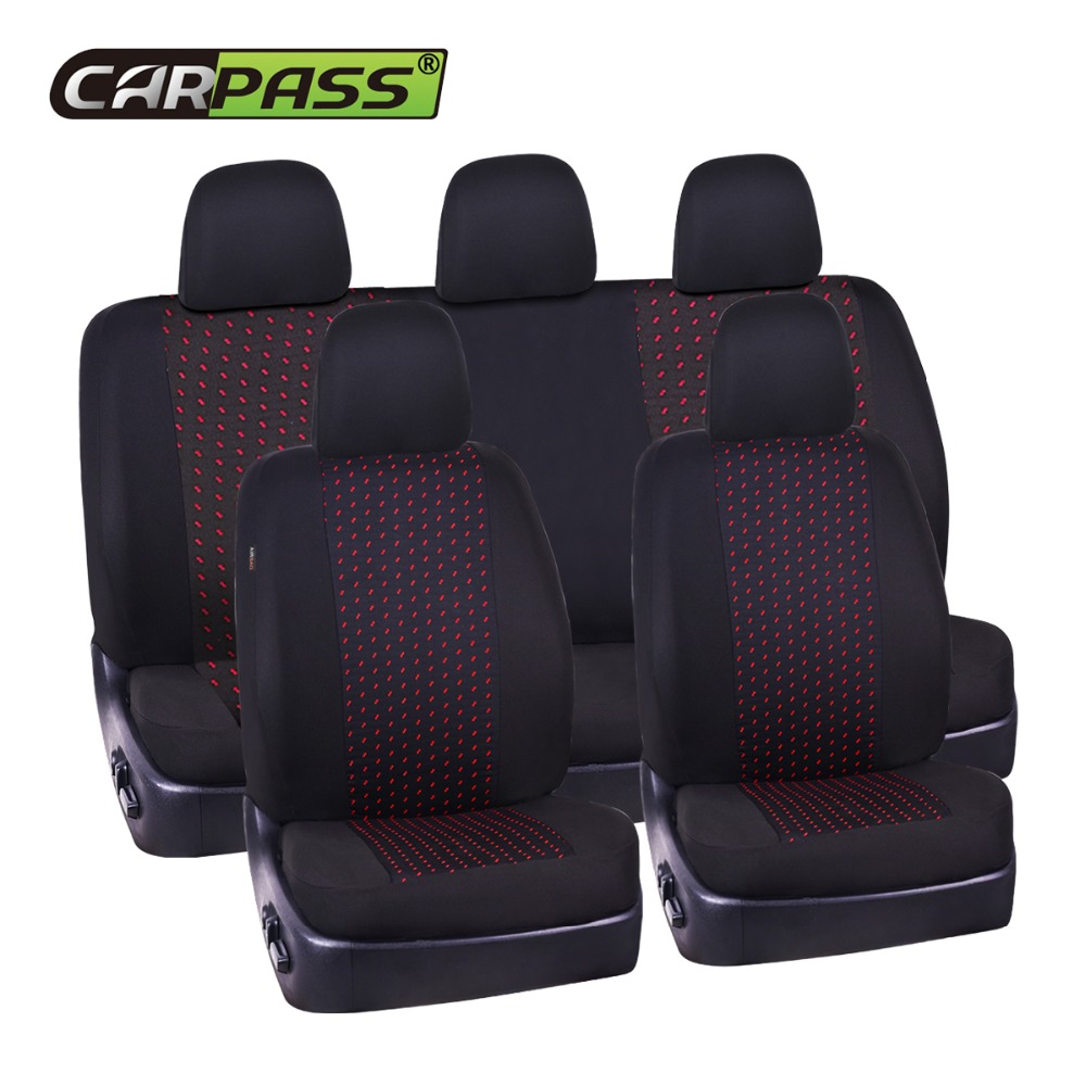 Full Set Jacquard cloth 75G black mesh complex Universal Auto Seat Cover Fit Most Styling Car Seat Covers Car Interior protector kkysyelva universal leather car seat cover set for toyota skoda auto driver seat cushion interior accessories