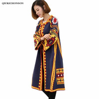 Women Cardigan Sweater Autumn Winter Coat Vintage Ethnic Geometric Pattern Single breasted Flare Sleeve Long Cardigan Knitted