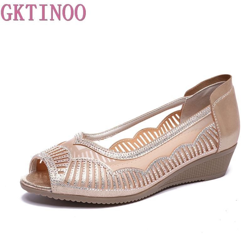 GKTINOO 2019 Summer Women Shoes Woman Genuine Leather Sandals Open Toe Mother Wedges Casual Sandals Women