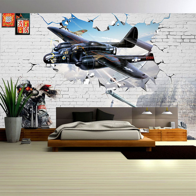 3d stereo relief aircraft broken wall mural boys room for Cockpit wall mural