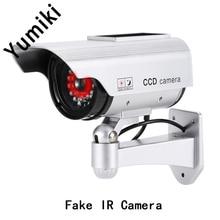 Yumiki Simulation Bullet fake Camera Solar Power Dummy Camera Outdoor Security CCTV Surveillance Dummy Camera With LED Light