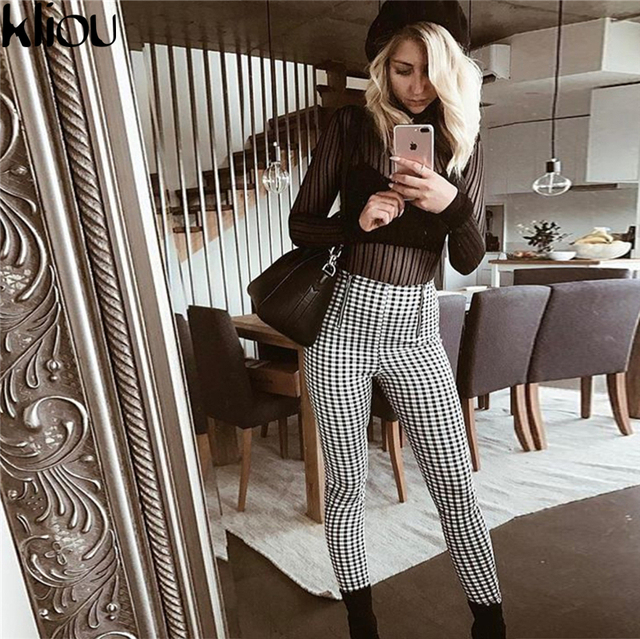 Gray White Plaid Pants for Women | online brands