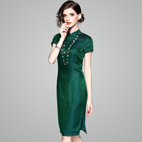 Китайский шелк тутового шелкопряда платье зеленый летние платья короткий рукав современный cheongsam элегантная одежда для женщин
