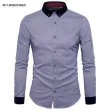 High quality 2017 new style mens lapel collar plaid long sleeve shirts casual cotton men's clothing tops slim mens shirts