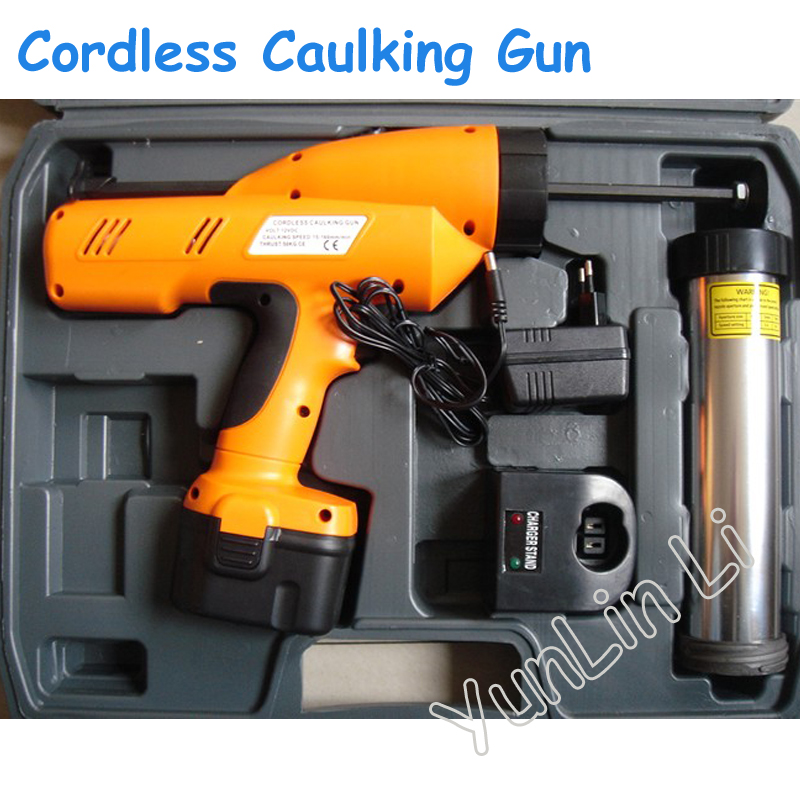 Cordless Caulking Gun 12V Handheld Electric Silicone Gun 300ml Rechargeable Glass Filled With Silicone Gun