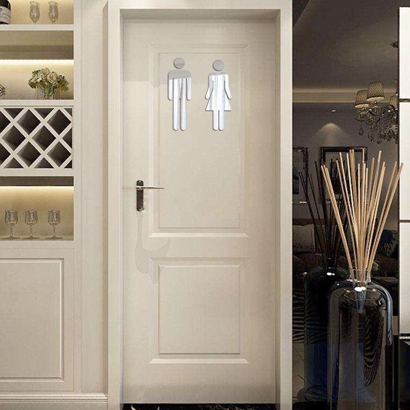 Acrylic Toilet Washroom Door Sign Sticker 3D Wall Sticker MEN &WOMEN Set Toilet/Bathroom/WC Adhesive Mirror Stickers