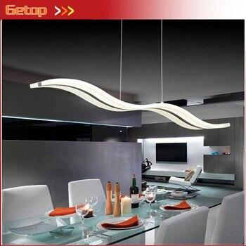 Moderne acrylique pendentif LED lampe Art vague Rectangle puce LED luminaires doux pour salle à manger Foyer scène café bureau lampe