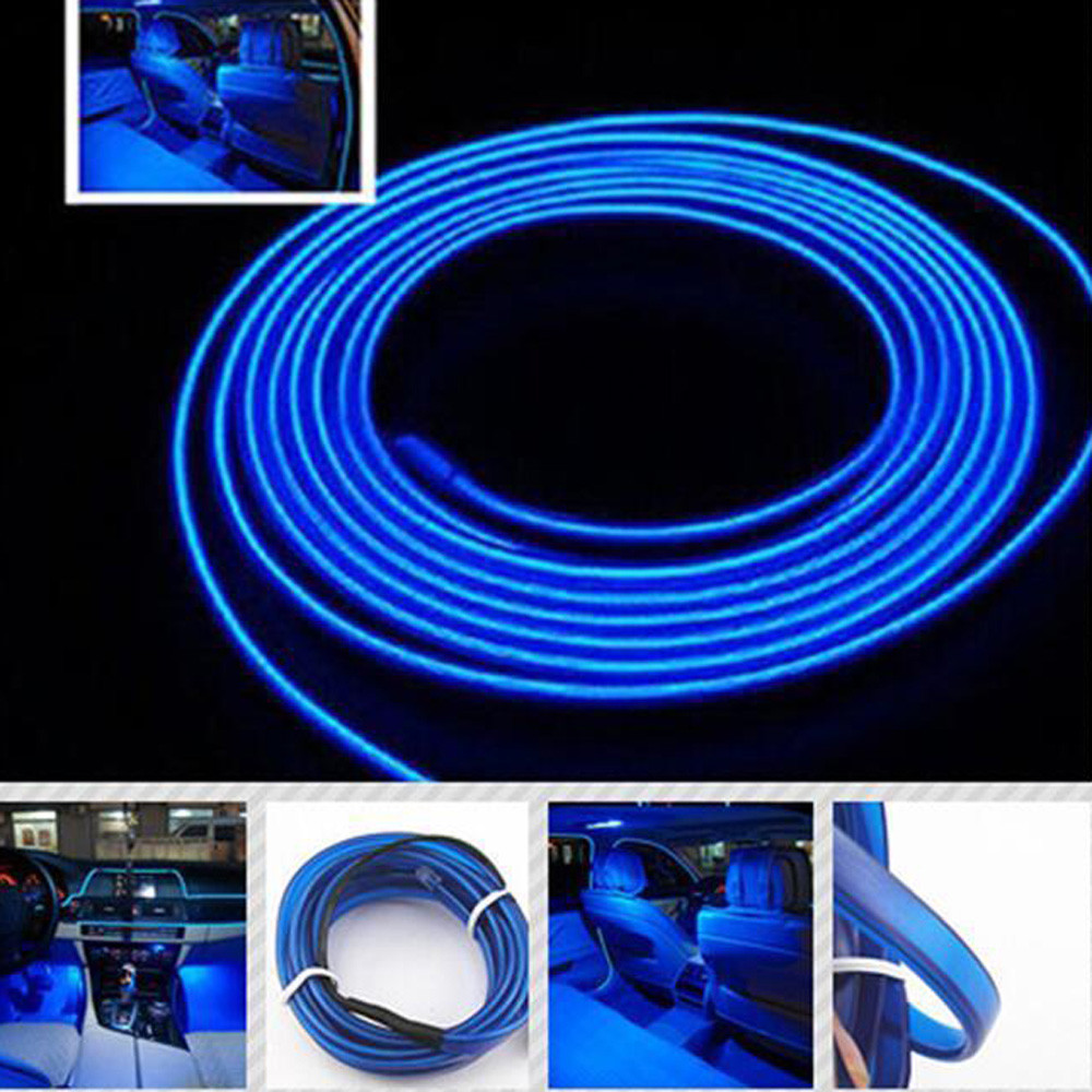 universal auto car 2m 12v el wire blue cold light lamp neon lamp car atmosphere lights unique. Black Bedroom Furniture Sets. Home Design Ideas