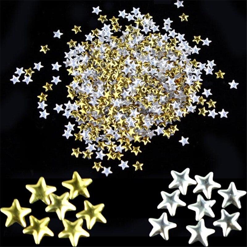 2019 DIY decorações Da Arte do Prego 250Pcs 5 milímetros Estrela Tachas De Metal Ouro Unhas Ferramentas Unhas Prego profissional parágrafo unha