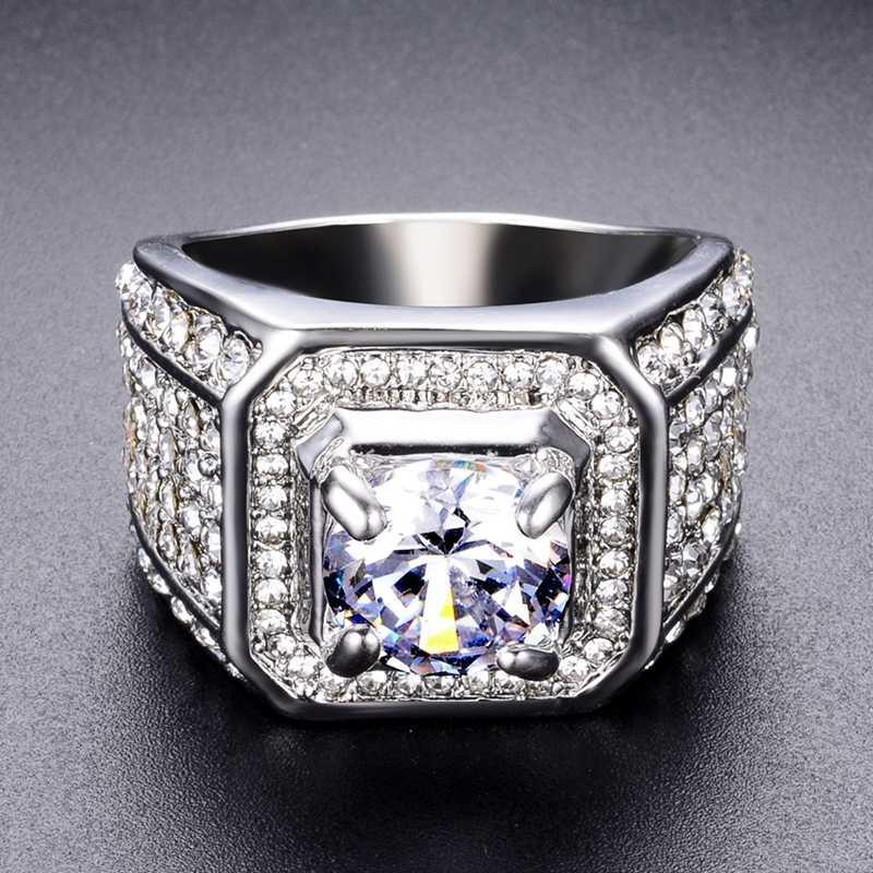 คริสตัล Big Stone แหวนเหล็กสำหรับชายแฟชั่น Mens Signet แหวน Silver Iced Out แหวนแต่งงาน Anel Masculino