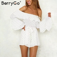 BerryGo Sexy Off Shoulder Dot Chiffon Jumpsuit Romper Flare Long Sleeve Summer Jumpsuit Women Causul Loose